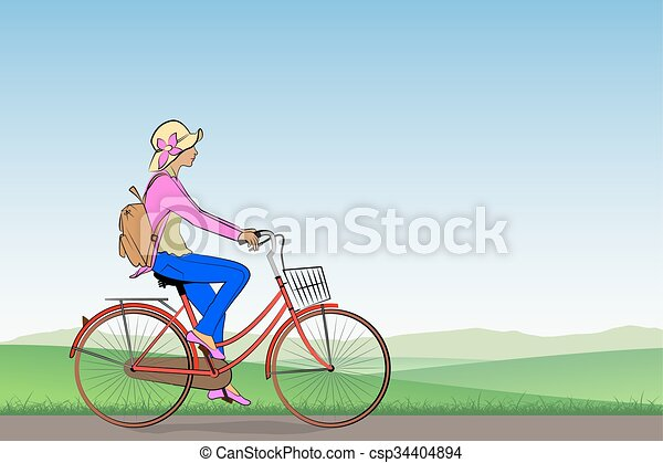 Girl on a Bicycle - csp34404894