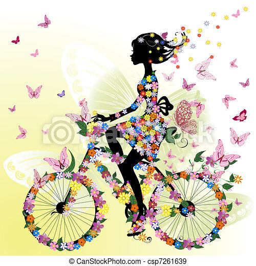 Girl on a bicycle in a romantic - csp7261639