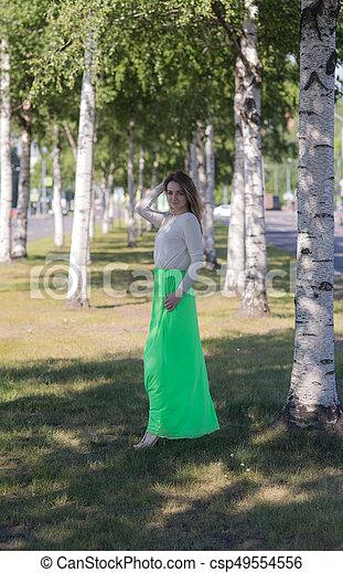 Girl on a birch avenue - csp49554556