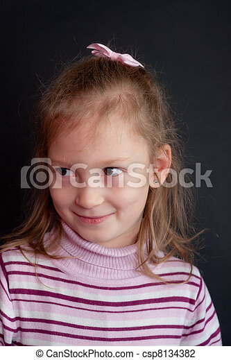 girl on a black background - csp8134382