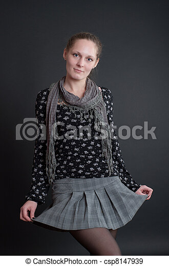 girl on a black background - csp8147939