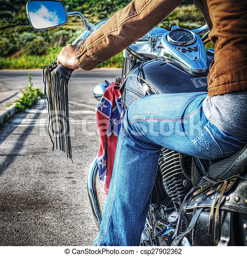 girl on a classic motorcycle in hdr - csp27902362