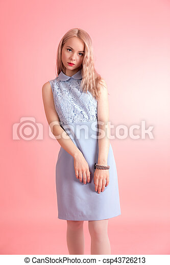 girl on a pink background - csp43726213