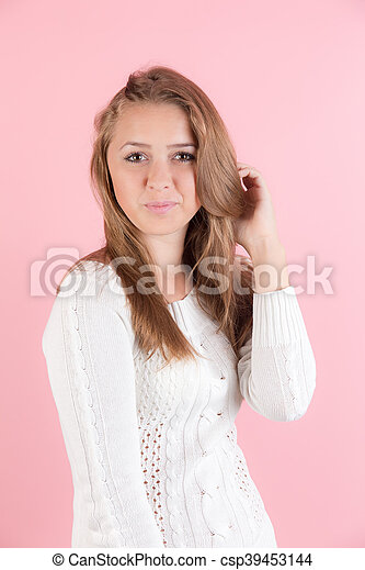 girl on a pink background - csp39453144