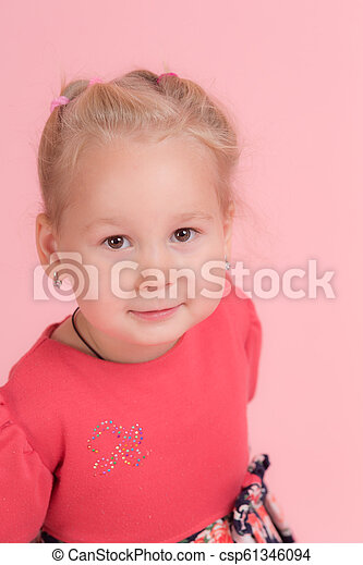 girl on a pink background - csp61346094