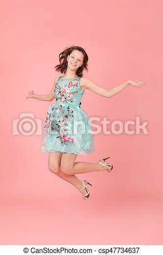 girl on a pink background - csp47734637