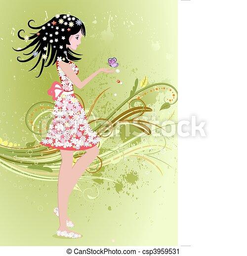 girl on a summer grunge background - csp3959531