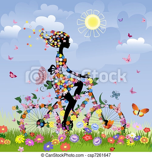 Girl on bike outdoors in summer - csp7261647