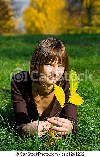 girl on green grass 2 - csp1261262