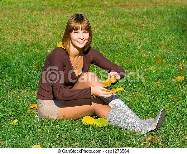 girl on green grass 2 - csp1276564