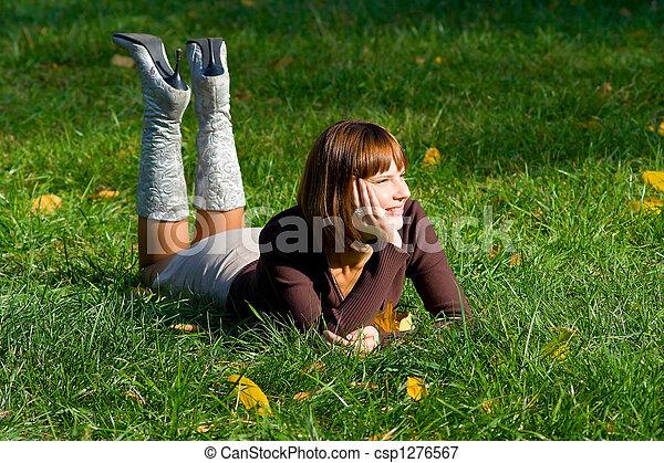 girl on green grass - csp1276567