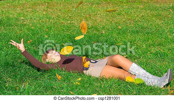 girl on green grass - csp1281001