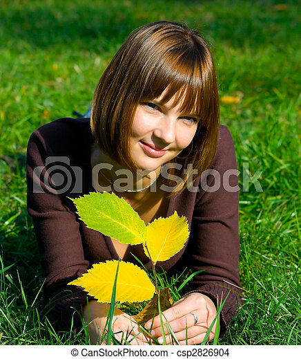 girl on green grass - csp2826904