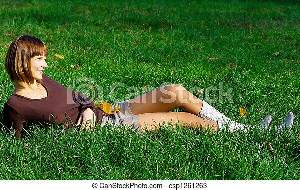 girl on green grass - csp1261263