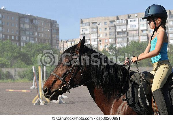 Girl on horse riding - csp30260991