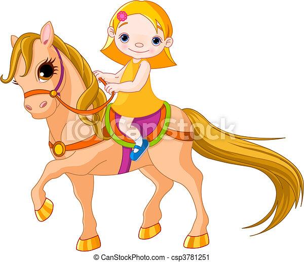Girl on horse - csp3781251