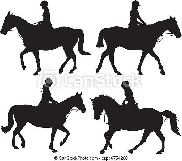 girl on horseback - vector icon - csp16754268