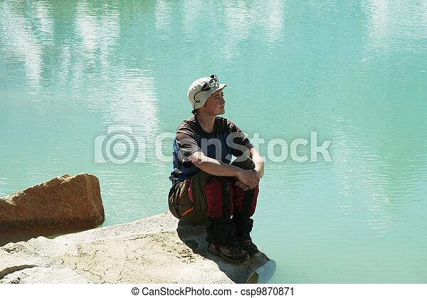 Girl on lake - csp9870871