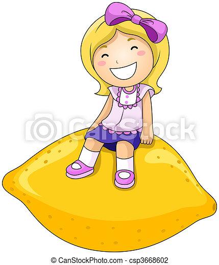 Girl on Lemon - csp3668602