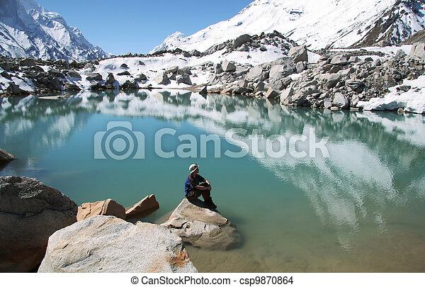Girl on mountain lake - csp9870864