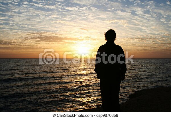 Girl on sunset - csp9870856