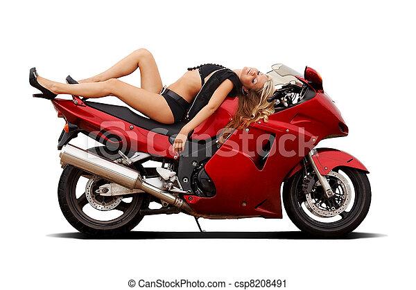 Girl on superbike - csp8208491