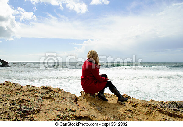 Girl on the Atlantic coast - csp13512332