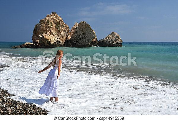 Girl on the beach near Aphrodite birthplace, Cyprus - csp14915359