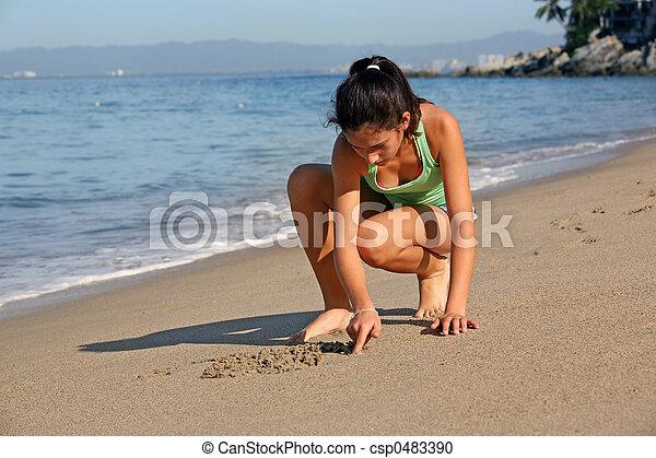 Girl on the beach - csp0483390