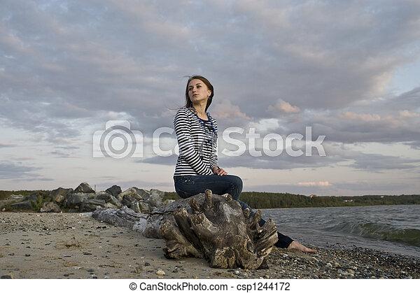 girl on the coast - csp1244172