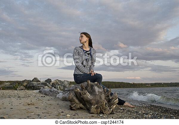 girl on the coast - csp1244174