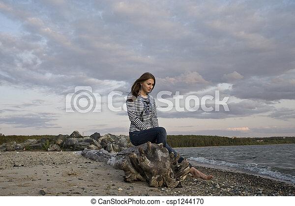 girl on the coast - csp1244170
