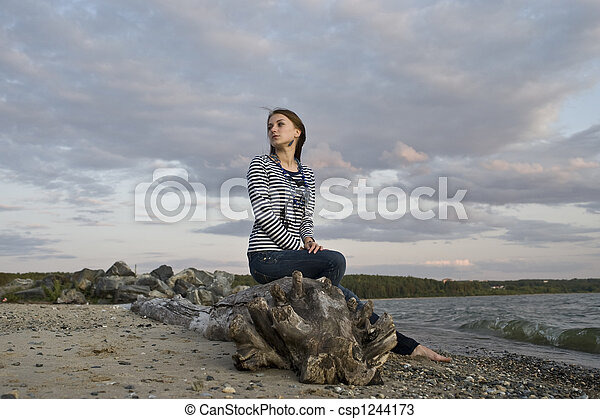 girl on the coast - csp1244173
