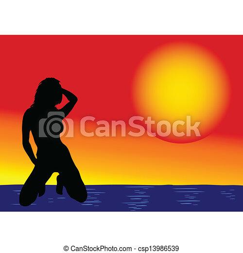 girl on the sea vector illustration - csp13986539