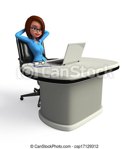 girl, ordinateur portable, bureau - csp17129312