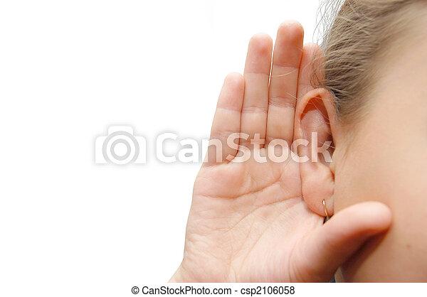 girl, oreille, écoute, elle, main - csp2106058