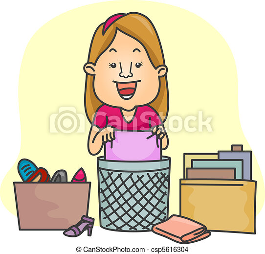 Illustration of a girl organizing her things.