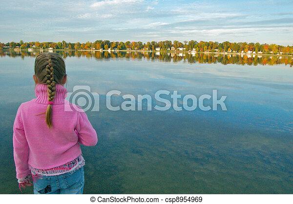 Girl Overlooking Lake  - csp8954969
