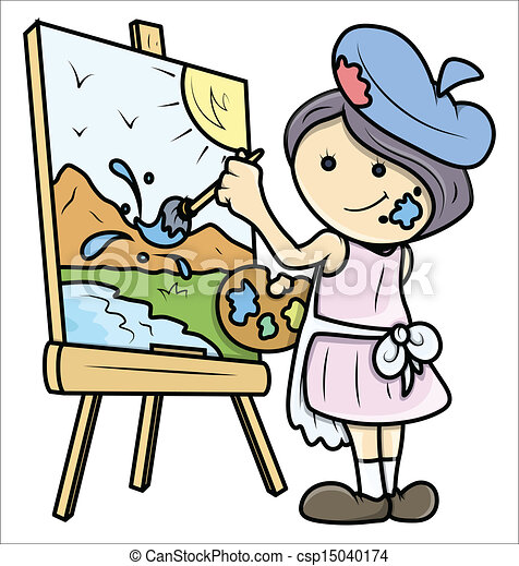 Girl Painting A Landscape On Canvas Drawing Art Of Cute Cartoon