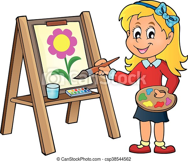 Girl painting on canvas 1 - eps10 vector illustration.