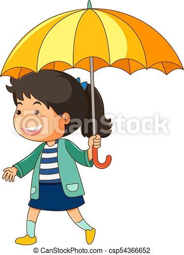 girl, parapluie, jaune - csp54366652