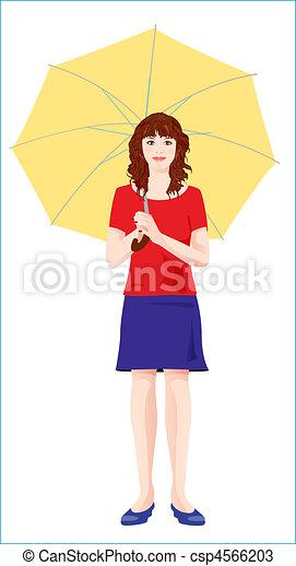 girl, parapluie jaune, jeune - csp4566203