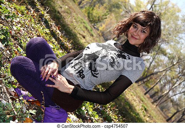girl, parc, automne, beau - csp4754507