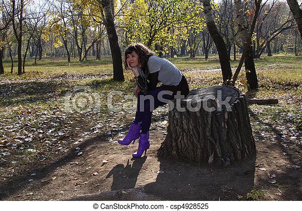 girl, parc, automne, beau - csp4928525