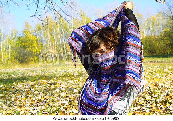 girl, parc, automne, beau - csp4705999