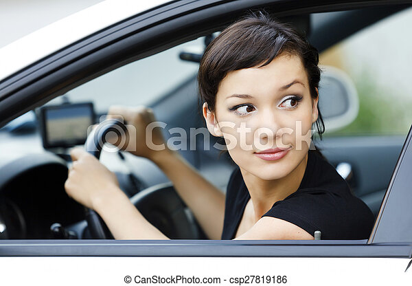 Girl parking a car - csp27819186