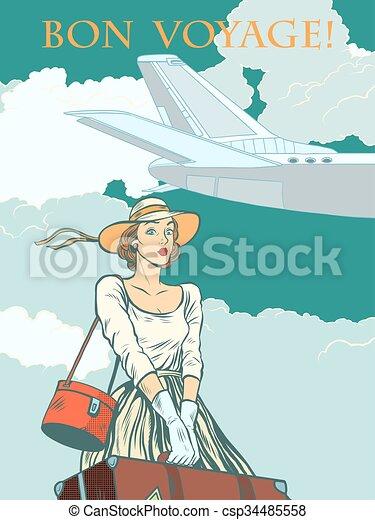 girl passenger plane Bon voyage - csp34485558