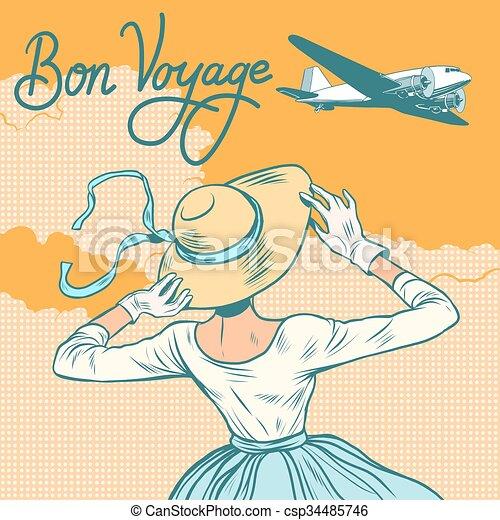 girl passenger plane Bon voyage - csp34485746
