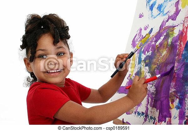 girl, peinture, enfant - csp0189591