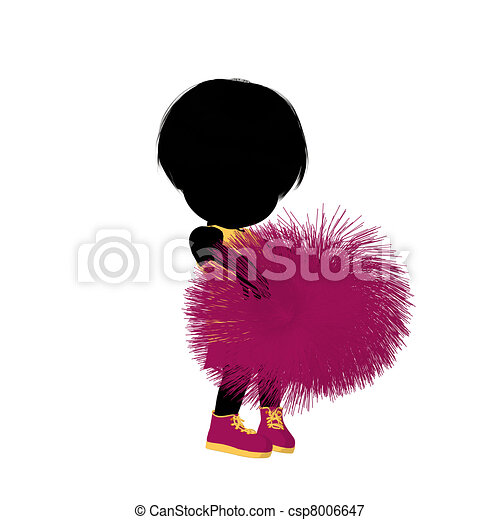 girl, peu, silhouette, acclamation, illustration - csp8006647